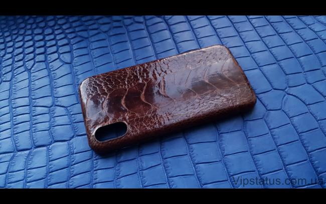Элитный Brown Gloss Лакшери чехол IPhone X XS кожа страуса  Чехол Brown Gloss iPhone X XS из кожи страуса  изображение 1