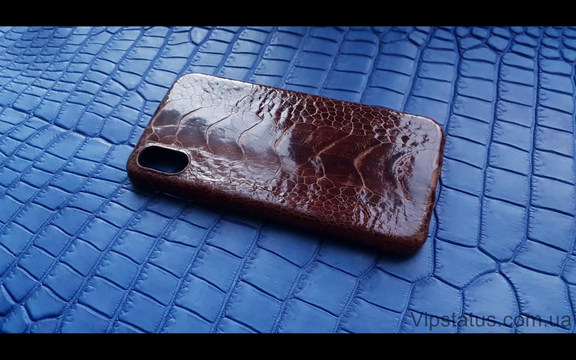 Элитный Brown Gloss Лакшери чехол IPhone X XS кожа страуса  Чехол Brown Gloss iPhone X XS из кожи страуса  изображение 2