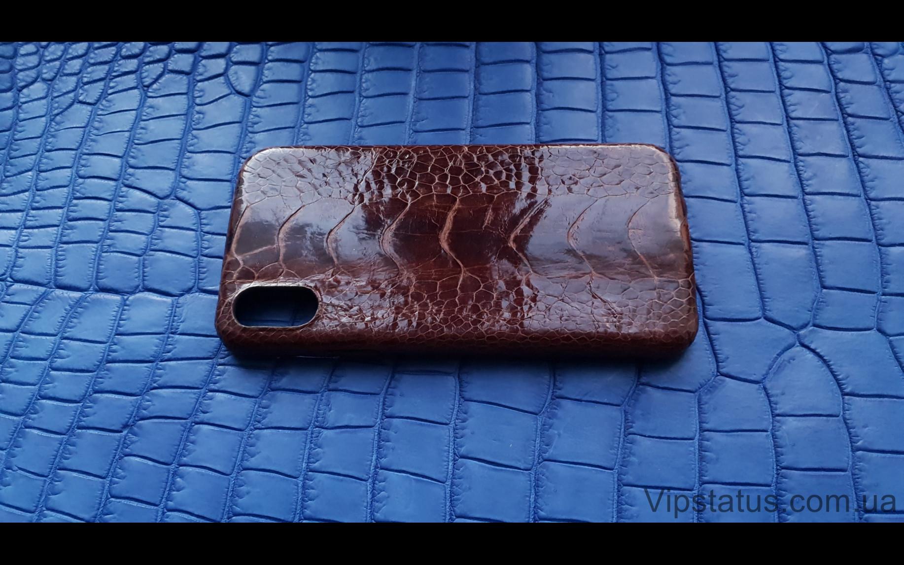 Элитный Brown Gloss Лакшери чехол IPhone X XS кожа страуса  Чехол Brown Gloss iPhone X XS из кожи страуса  изображение 3