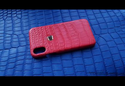 Gold Apple Люксовый чехол IPhone X XS кожа крокодила изображение