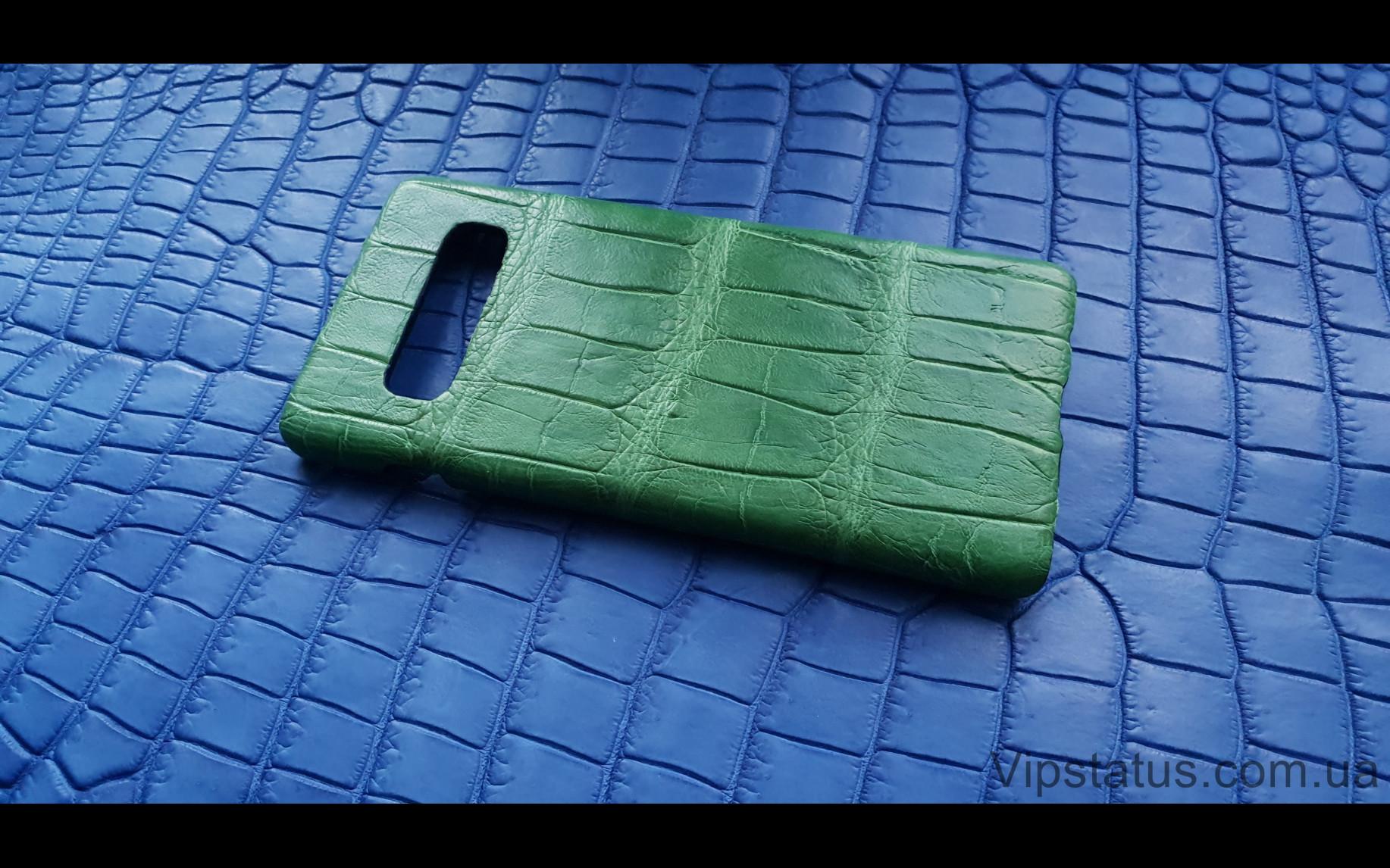 Elite Light Green Экзотический чехол Samsung Galaxy S10 Plus Light Green Exotic case Samsung Galaxy S10 Plus Crocodile leather image 2