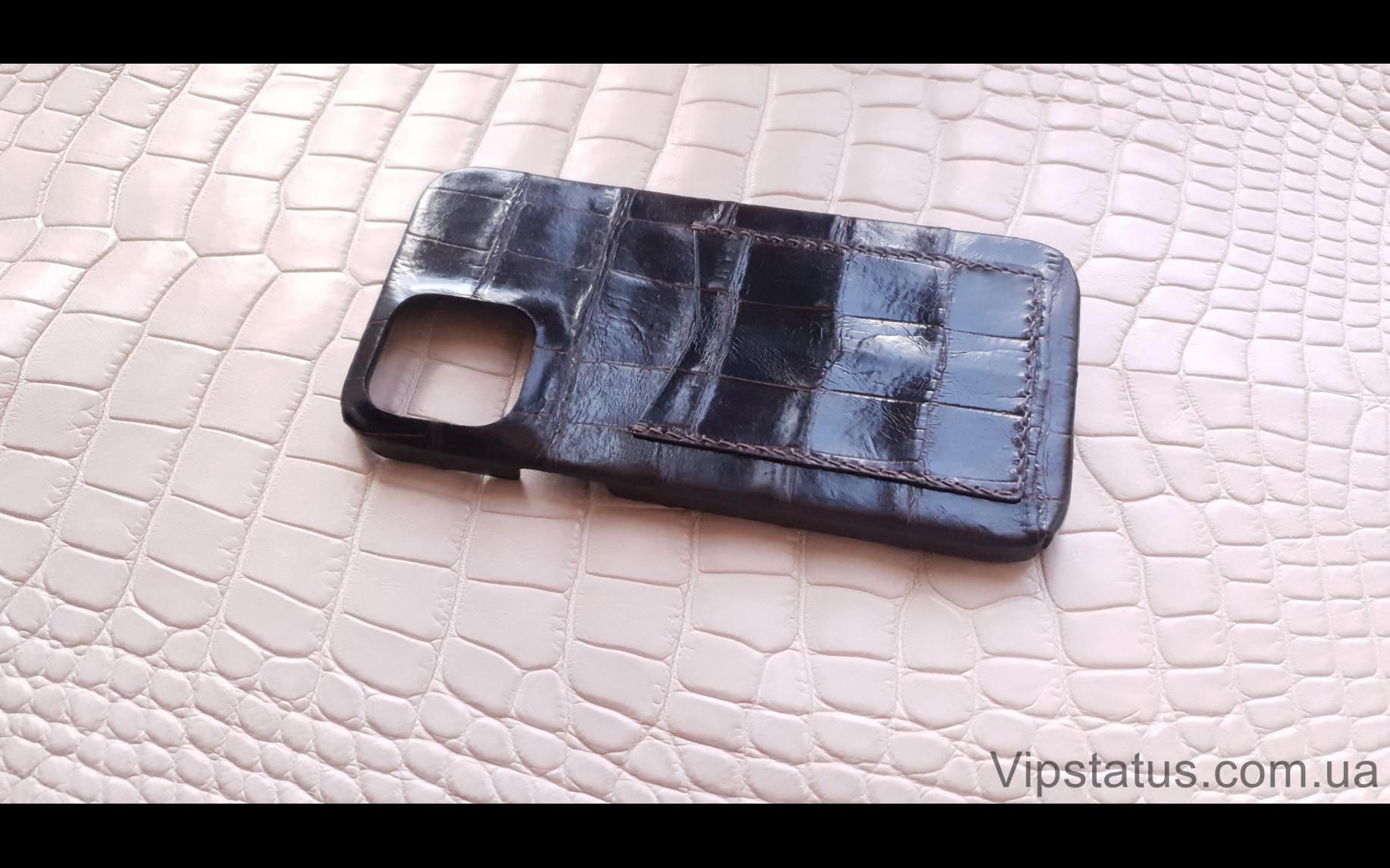 Элитный Dark Brown Экзотический чехол IPhone 11 12 Pro Max Dark Brown Экзотический чехол IPhone 11 12 Pro Max кожа крокодила изображение 1