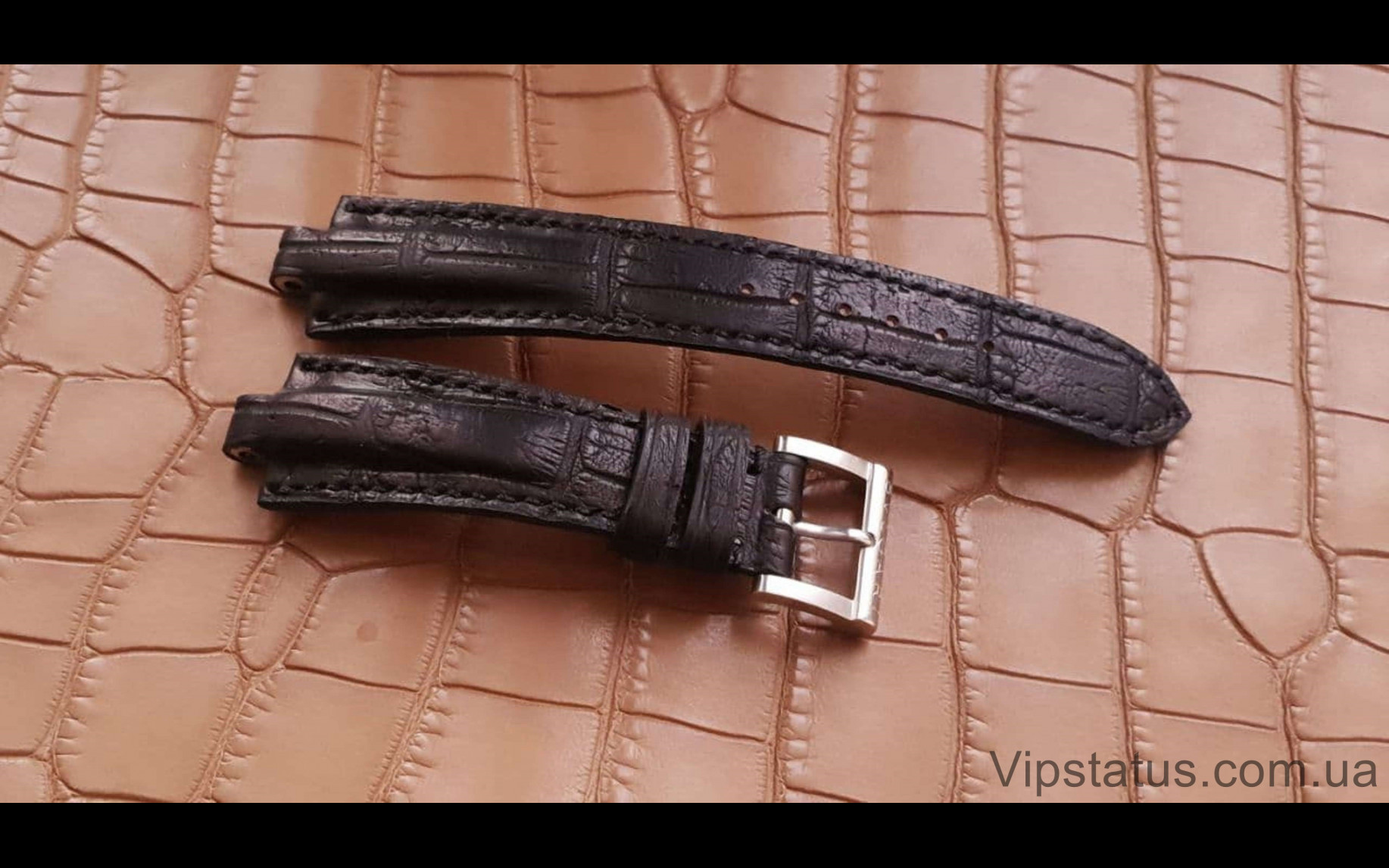 Элитный Эксклюзивный ремешок для часов Bvlgari Black кожа крокодила Элитный ремешок для часов Bvlgari из кожи крокодила изображение 2