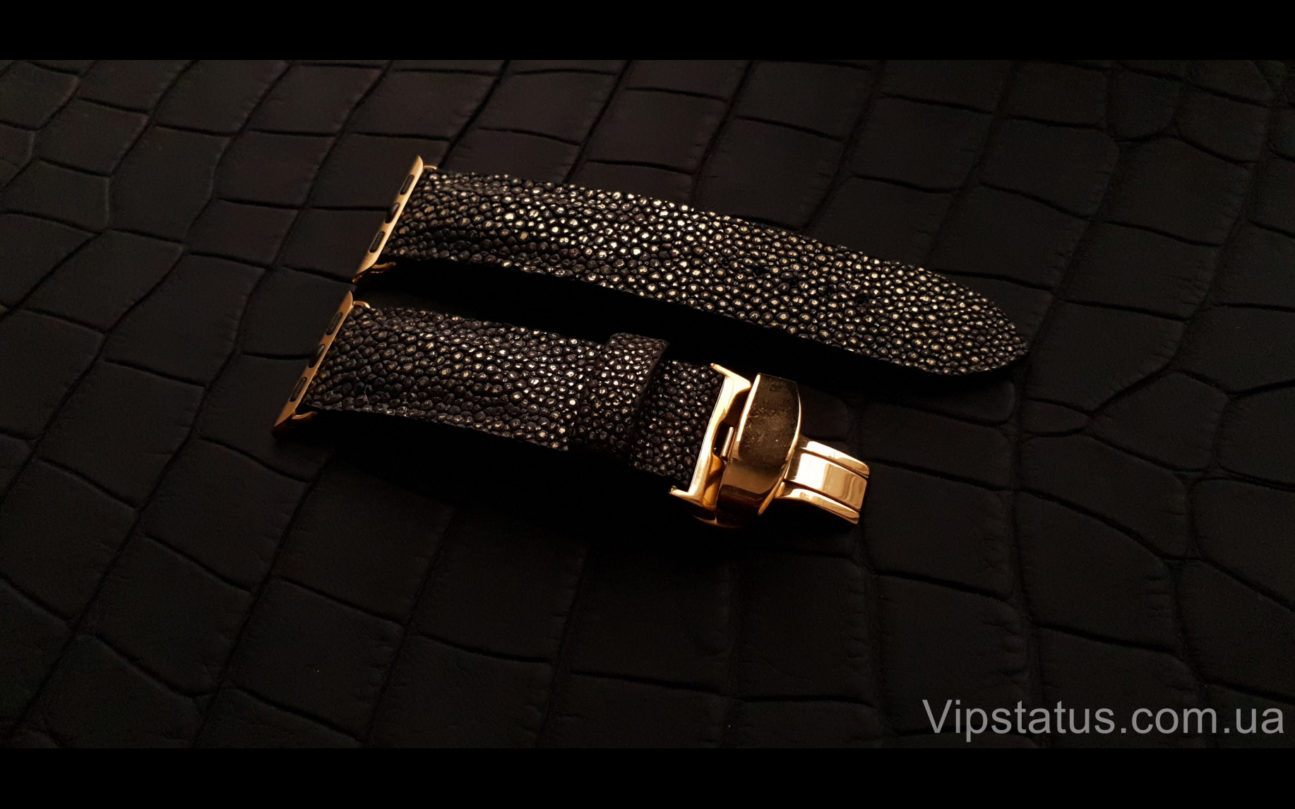 Elite Экзотический ремешок для часов Gold Metallic кожа ската Gold Metallic Exotic Stingray Leather Strap image 3