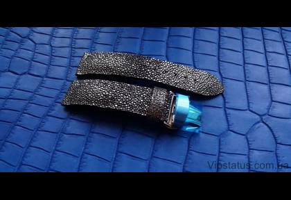 Лакшери ремешок для часов Silver Metallic кожа ската изображение